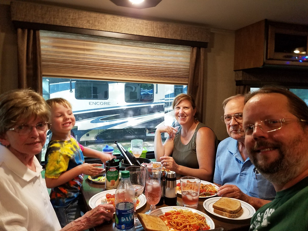 Dinner Party in the camper with Mom and Tim!