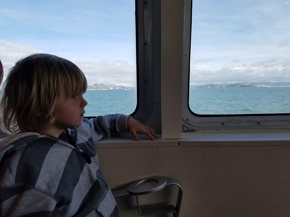 Crayton on the Ferry. Almost as cool as a train...