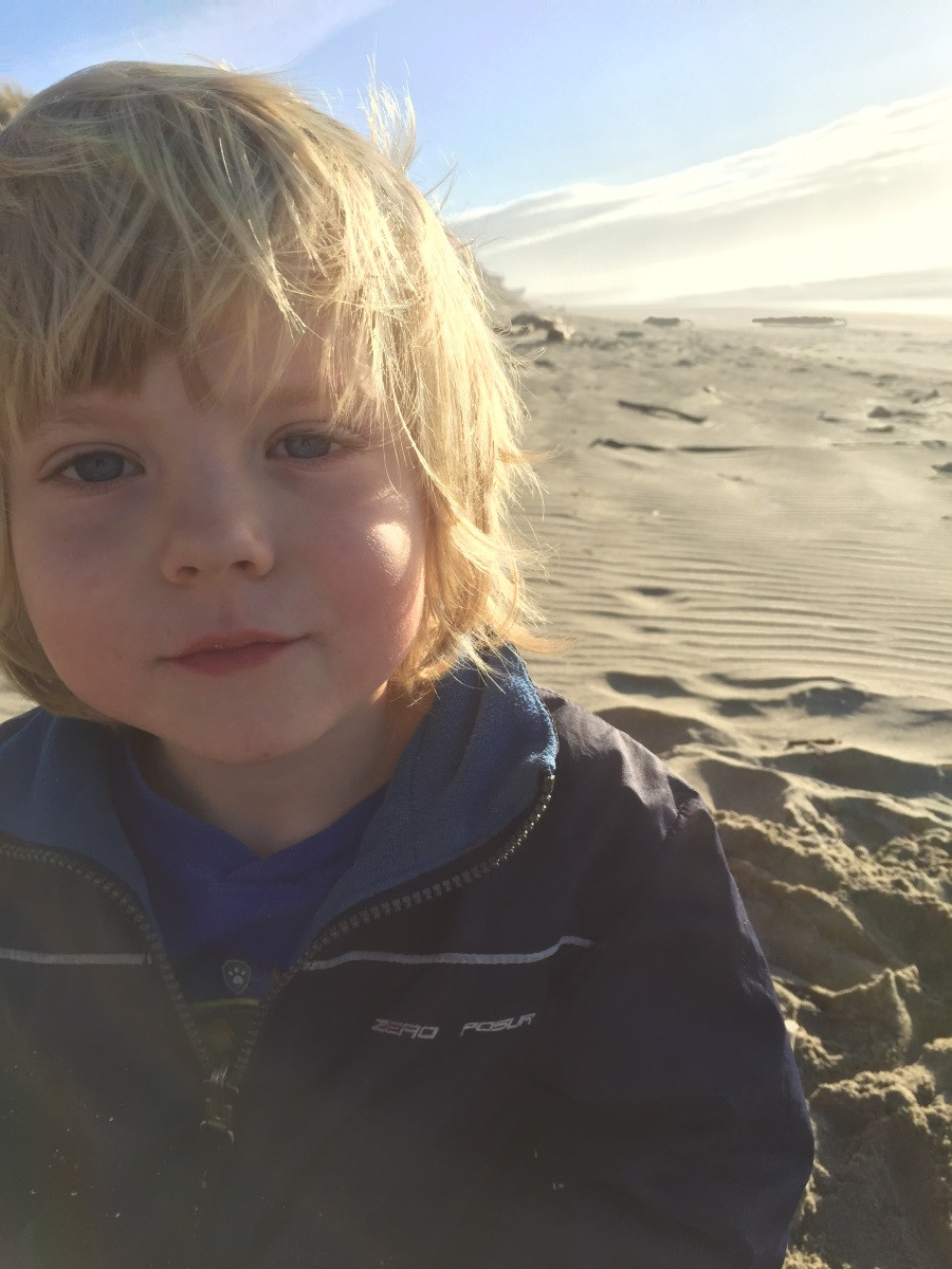 Crayton on the beach at Bullards Beach State Park