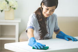 cleaner maid woman with mop wearing unif