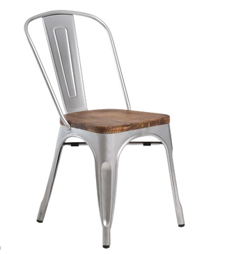 Metal Chair w/wooden seat