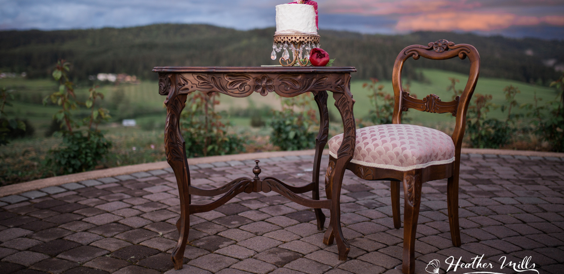 Wooden Table w/floral design
