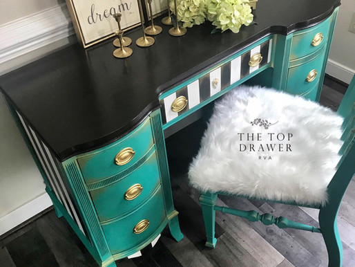 Vanity Makeover in Teal and Whimsy