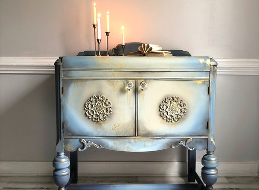 Waterfall Buffet Makeover - Old World Style Painting