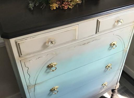 Ombre Paint Makeover on a Vintage Dresser