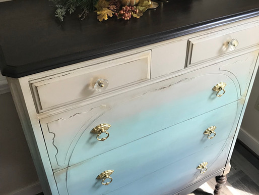 Ombre Paint Makeover on a Vintage Dresser