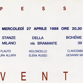 VENTI, Stanze della Bohéme - Milano, 1988, cartolina invito