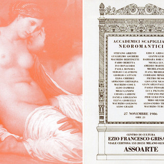 ACCADEMICI SCAPIGLIATI NEOROMANTICI, Assoarte - Milano, 1986, cartolina invito