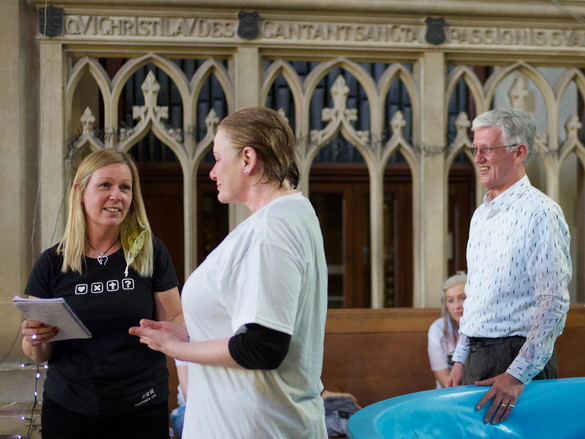 Sue being baptised