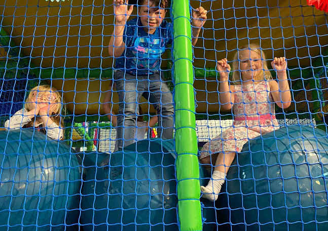 Some of the children who attend the church regularly hanging out in the soft play area