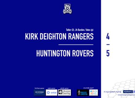 Report: Rangers 4 v 5 Huntington Rovers