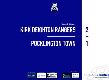 Report: Rangers 2 v 1 Pocklington Town
