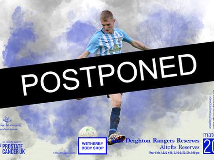 Postponed: Altofts Reserves