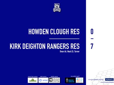 Report: Howden Clough Res 0 v 7 Rangers Res