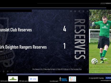 Hunslet Club Res 4 v 1 Rangers Res