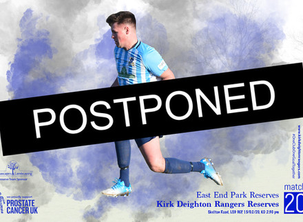 East End Park Reserves Match Postponed.