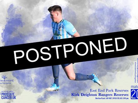 East End Park Reserves Match Postponed.