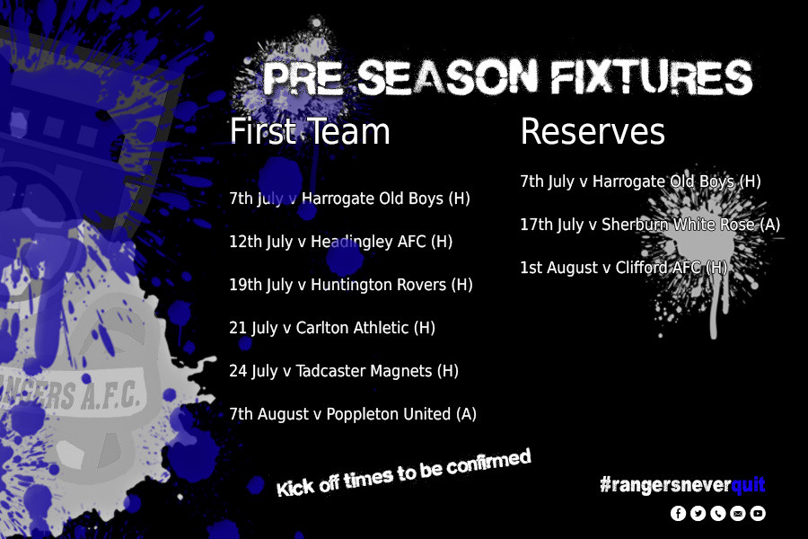 Graphic with pre-season fixtures