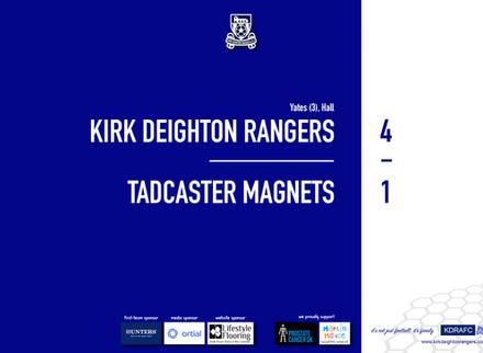 Report: Rangers 4 v 1 Tadcaster Magnets
