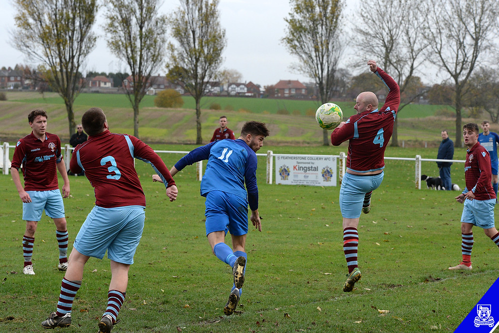 Roman Neal scores against Featherstone Colliery last season.