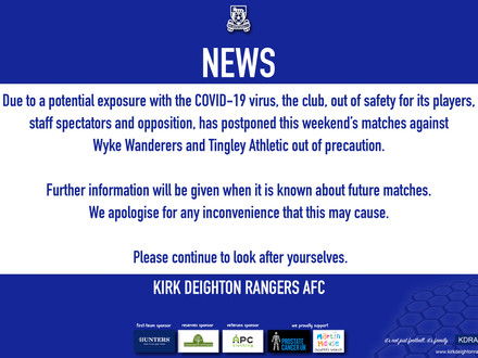 Matches Postponed 03/10/20