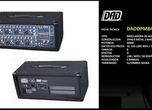 Mixer amplificada 8 canales, EQ, reproduce USB MP3