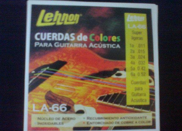 Cuerdas metalicas de colores para guitarra LEHNON