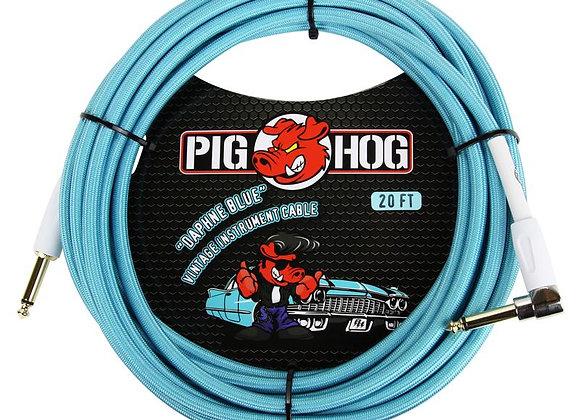PCH20DBR Pig Hog - Cable instrumento 1/4-1/4 ángulo recto 6.10 mts