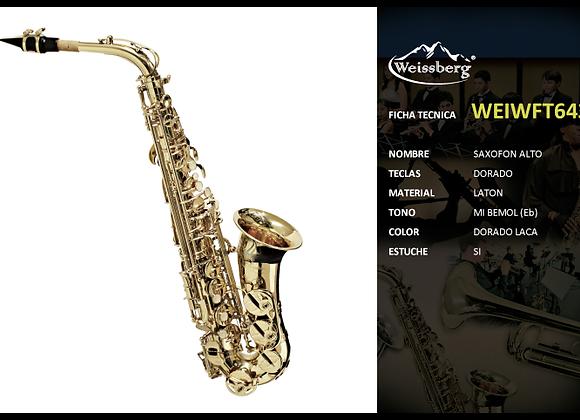 Sax alto dorado en Mi Bemol con estuche WEISSBERG