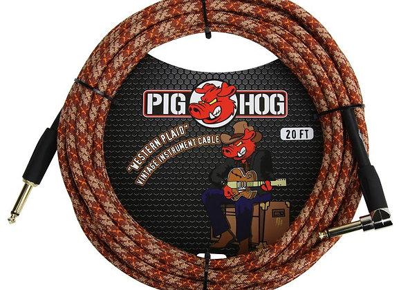 PCH20CPR Pig Hog - Cable instrumento 1/4-1/4 ángulo recto 6.10 mts