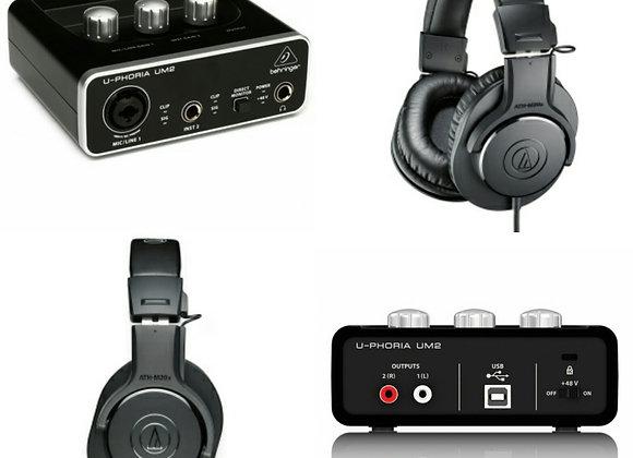 UM2 Behringer + ATH-M20 Audio-Technica - Audífonos +interface