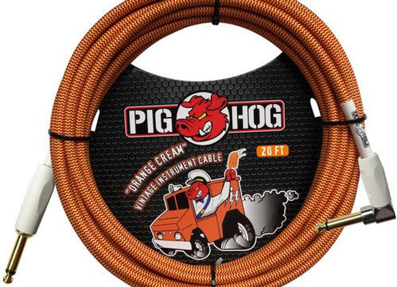 PCH20CCR Pig Hog - Cable instrumento 1/4-1/4 ángulo recto 6.10 mts