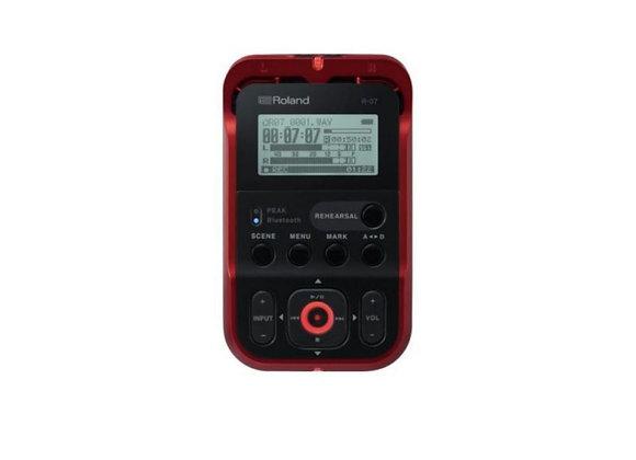R-07-RD Roland - Grabadora de audio portátil con Bluetooth, 24 bits/96 kHz roja