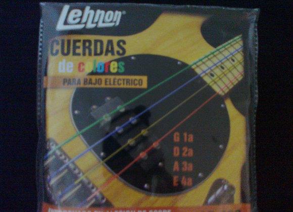 Juego de 4 cuerdas de colores para bajo LEHNON