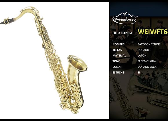 Sax tenor dorado en SI bemol con estuche WEISSBERG