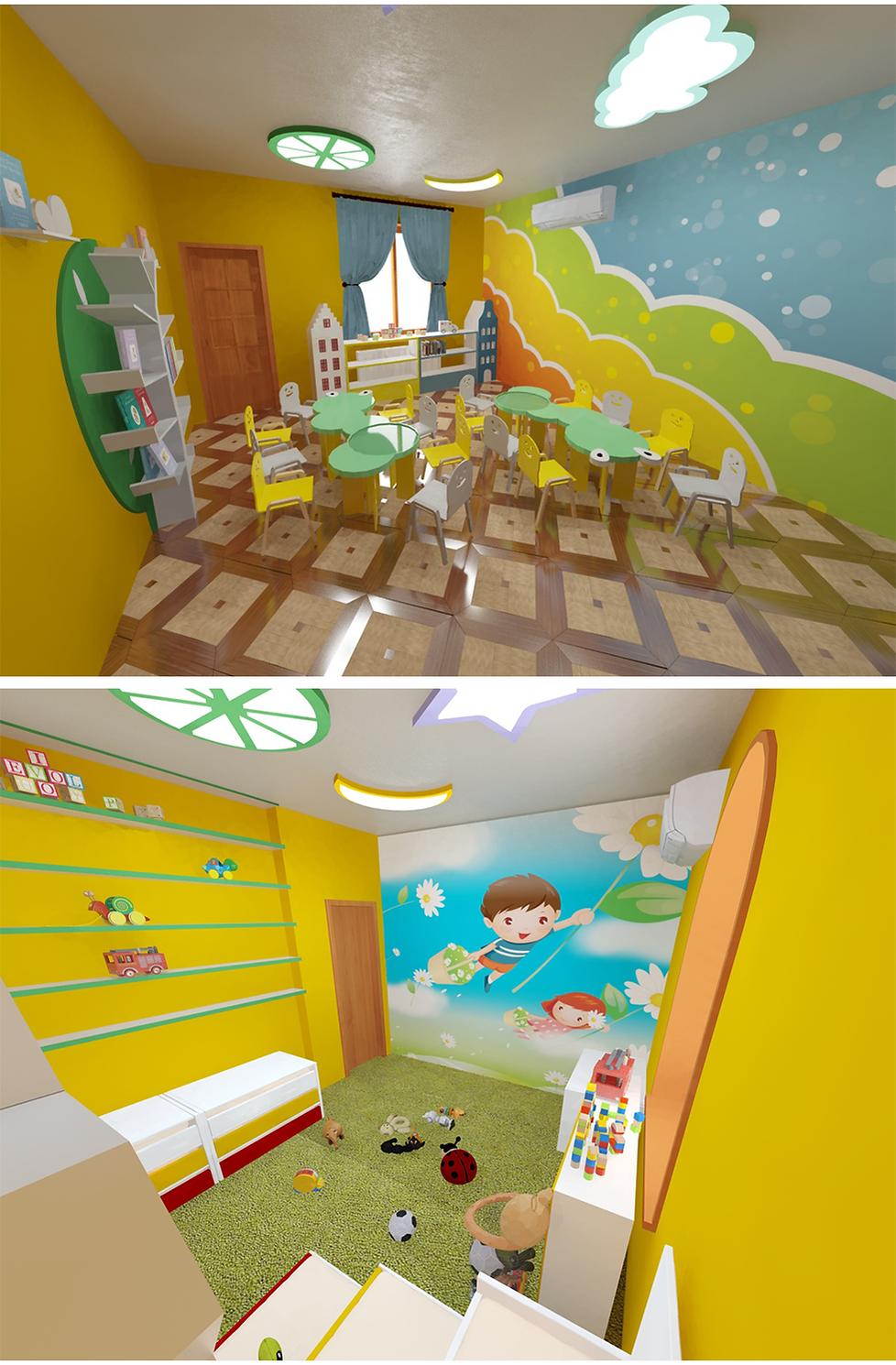 საბავშვო ბაღის ინტერიერის დიზაინი neverland
