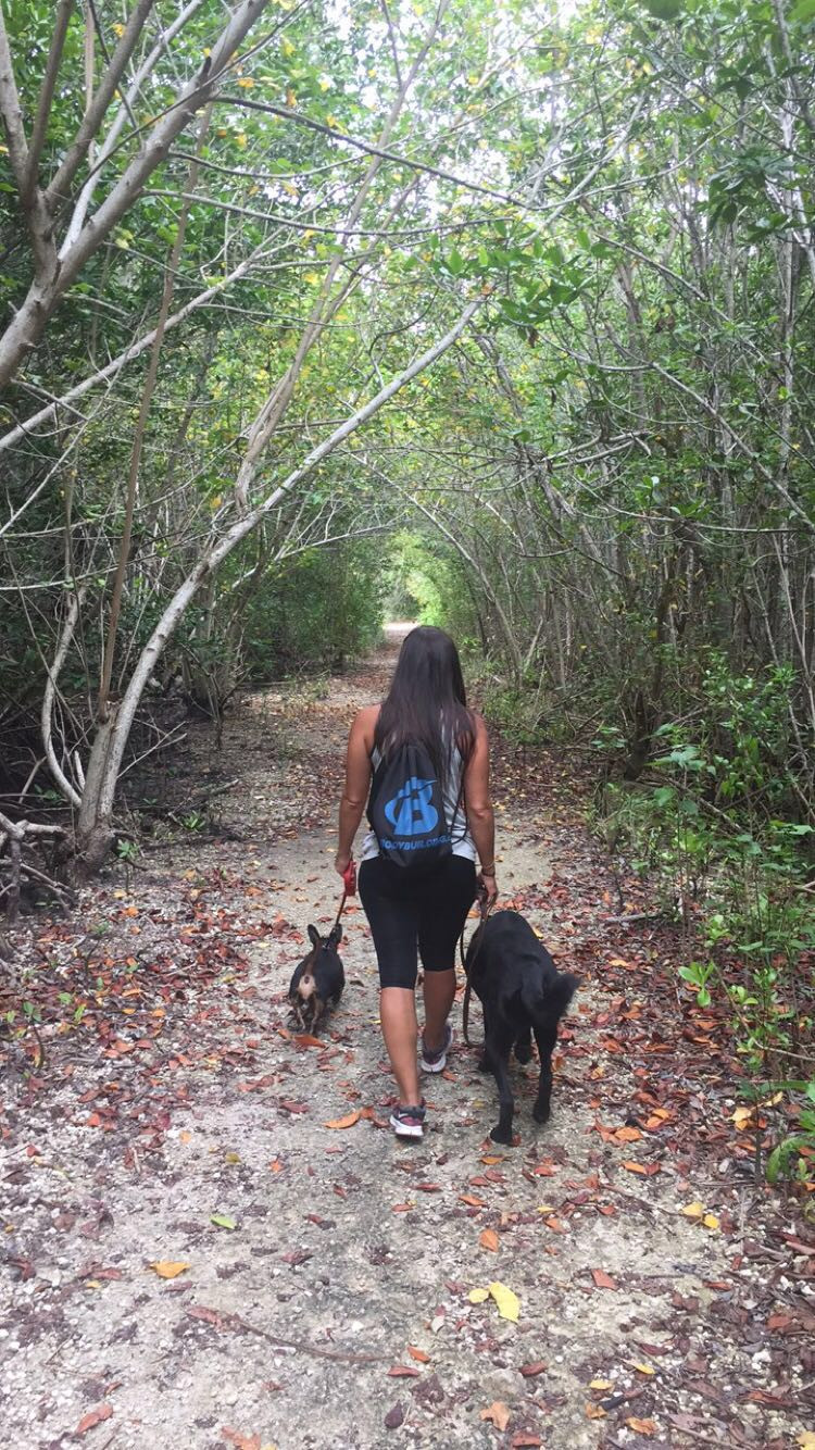 Yvette and her dogs hiking