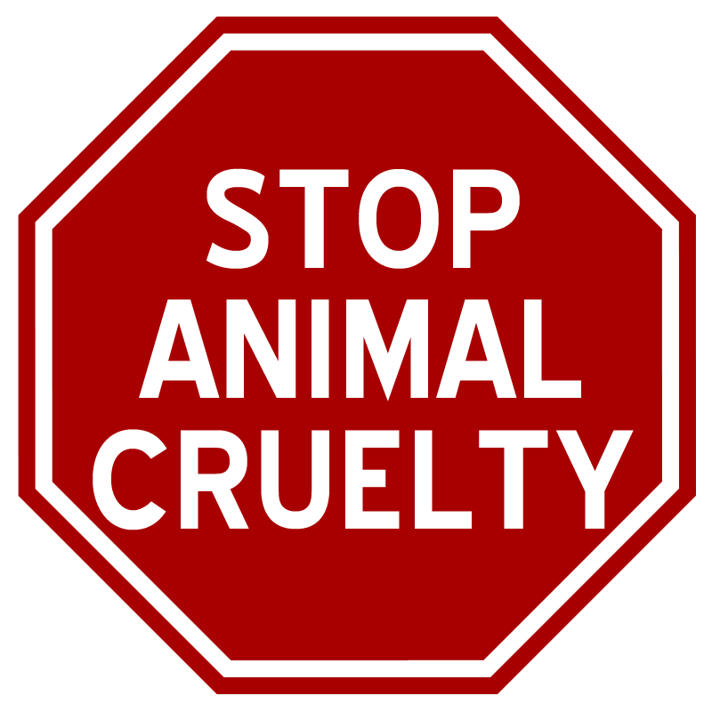 """A stop sign with the words """"Stop Animal Cruelty"""" written within."""