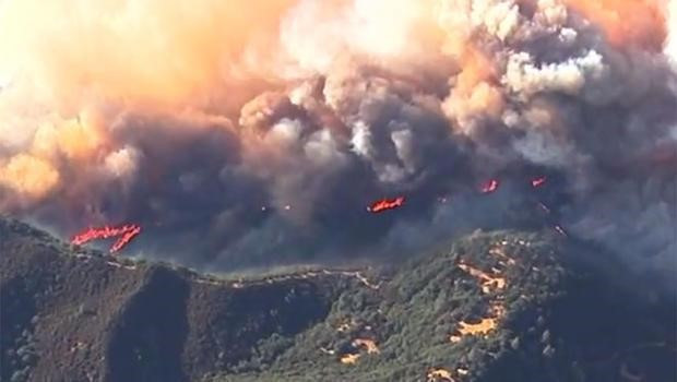 Aerial view of the Napa Valley Fire.  Credit: CBS News