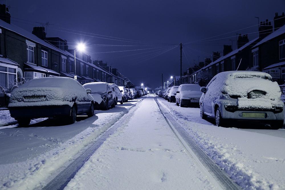 snow on cars
