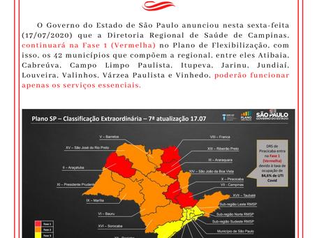 FASE VERMELHA  DIRETORIA REGIONAL DA SAÚDE DE CAMPINAS - ANÚNCIO 17/07/2020