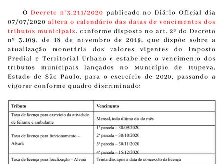 Comunicado Itupeva - Decreto n° 3.211/2020