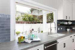 kitchen with pass through window