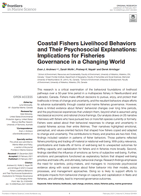 New Paper: Coastal Fishers Livelihood Behaviors and Their Psychosocial Explanations: Implications for Fisheries Governance in a Changing World