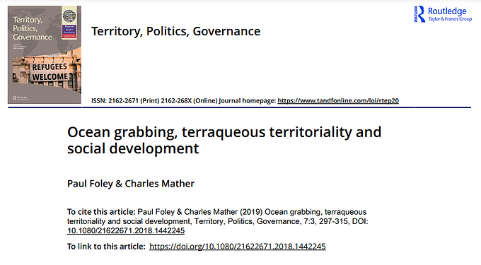 Read the Award-Winning Paper 'Ocean Grabbing, Terraqueous Territoriality and Social Development'
