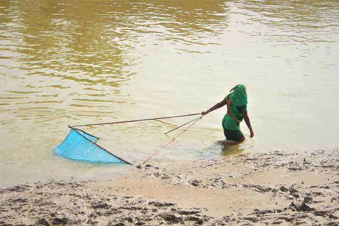 Direct involvement of women in fishing. Burigoalini, Sathkira, Bangladesh. ©Ruyel, 2019