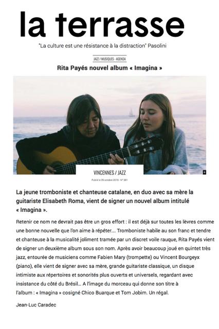 RITA PAYES dans le journal La Terrasse...