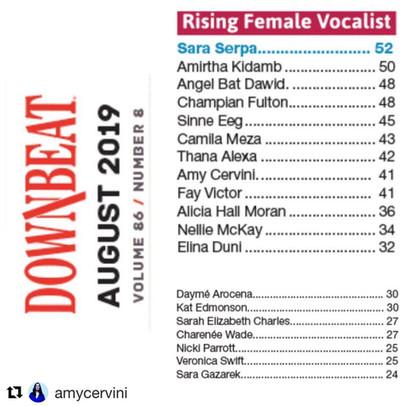 """CHAMPIAN FULTON """"Rising Female Vocalist"""" in DOWNBEAT CRITICS POLL"""