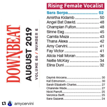 "CHAMPIAN FULTON ""Rising Female Vocalist"" in DOWNBEAT CRITICS POLL"