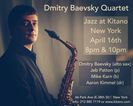 Dmitry Baevsky @ Kitano Jazz, New York